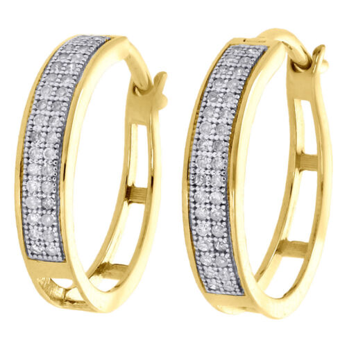 cda2ad2f3 10K Yellow Gold Pave Set Round Diamond 3.6mm Hinged Hoop Earrings 0.20 Ct