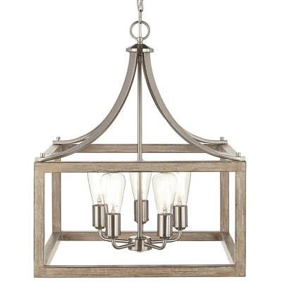 NEW!!  5-Light Pendant in Brushed Nickel and Weathered Wood ()