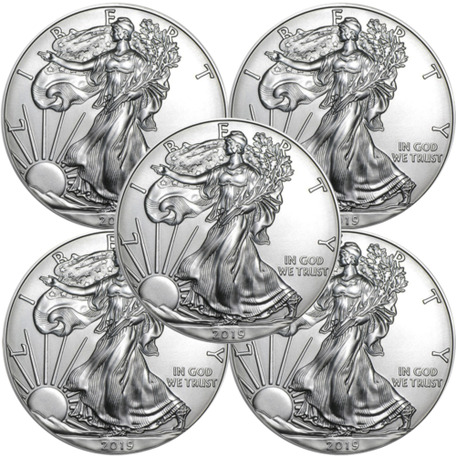 Купить Lot of 5 - 2019 $1 American Silver Eagle 1 oz Brilliant Uncirculated