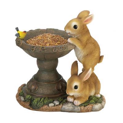 New Playful Bunny Bird Feeder Rabbit Wildlife Outdoor Garden Yard Statue Seed