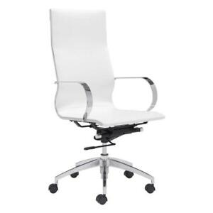 ZUO 100372 Glider Hi Back Office Chair White (New Other)