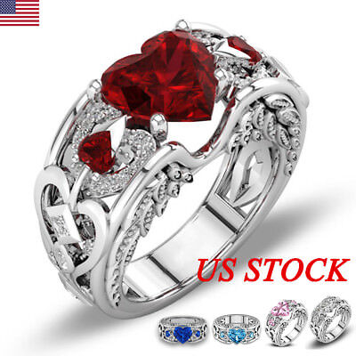 Crystal Women 925 Sterling Silver Rhinestone Heart Finger Ring Wedding Jewelry 925 Sterling Silver Crystal Ring