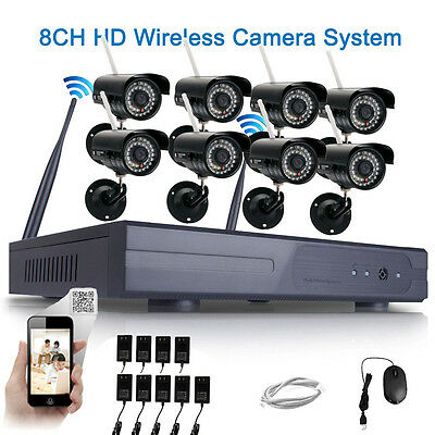 8pcs WIFI Outdoor HD 720P IP Camera System 8CH CCTV NVR Wireless Security Video