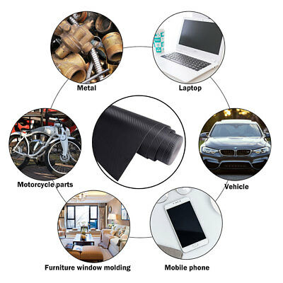 Yescom 5x100 Ft 3d Carbon Fiber Vinyl Wrap Film Roll With Air Release Uv Resistant Sticker For Car Vehicle Laptop