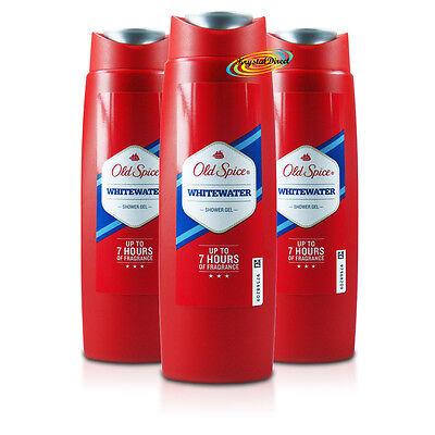 3x Old Spice Whitewater Body Shower Gel 250ml Long Lasting Fragrance For Men