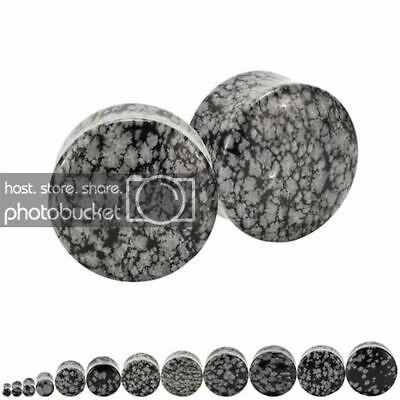 Pair | Snowflake Obsidian Stone Organic Ear Plugs Double Flared Saddle