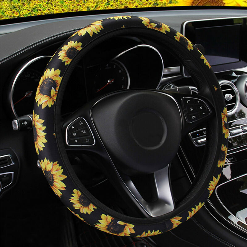 Universal 15 inch KAFEEK Elastic Sunflower Red Steering Wheel Cover,Cool in Summer
