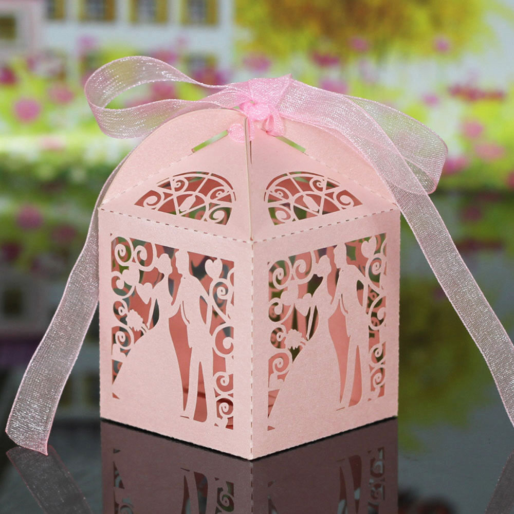 2/20/50X Love Heart Favor Ribbon Hollow Gift Box Candy Boxes Wedding ...