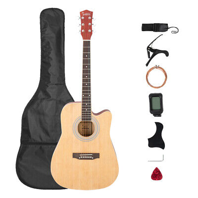 "41"" EQ Acoustic Folk Guitar W/ Bag Tuner Pick Capo Shield Shoulder Strap Strings"