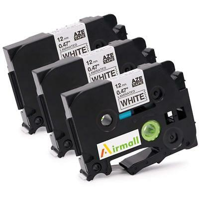 3pk Compatible Brother P Touch Label Maker Tape Tze-231 Black On White 12mm
