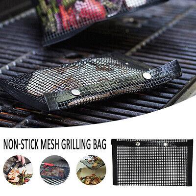 Non-Stick BBQ Mesh Grill Bag High Temperature Barbecue Baking Mat Pad UK CW