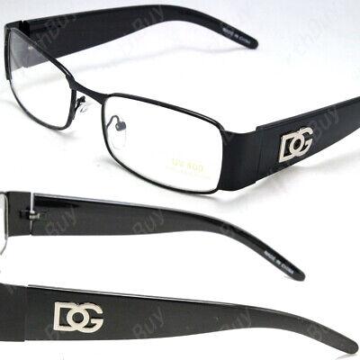 Men Women Black Clear Lens Frame Eye Glasses Rectangular Fashion Retro Nerd (Black Framed Glasses For Men)