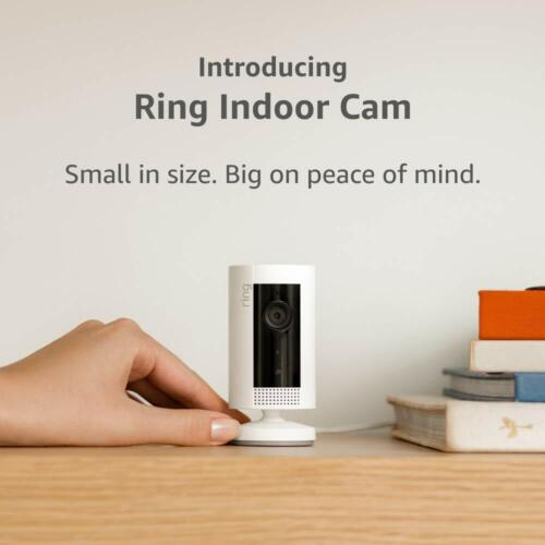 New Ring Indoor Cam, Compact Plug-In HD security camera with two-way talk, White