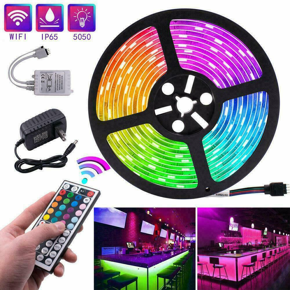 5M RGB 5050 Waterproof LED Strip light SMD 44 Key US Remote 12V Power Full Kit Home & Garden