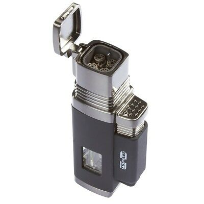 Moretti Churchill Quad Torch Flame Cigar Lighter - Black - New