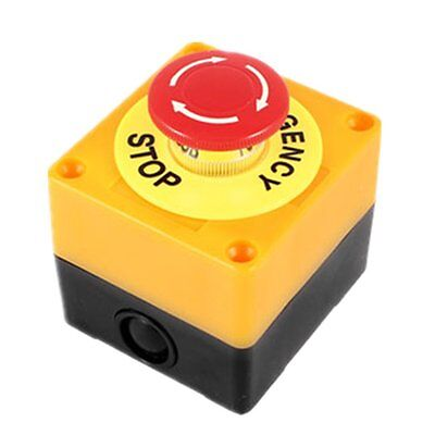 Mushroom Head Latching Dpdt 600v 10a Push Button Switch W Yellow Control Box
