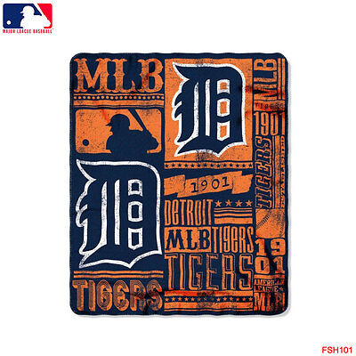 "New Northwest MLB Detroit Tigers Large Soft Fleece Throw Blanket 50"" X 60"""