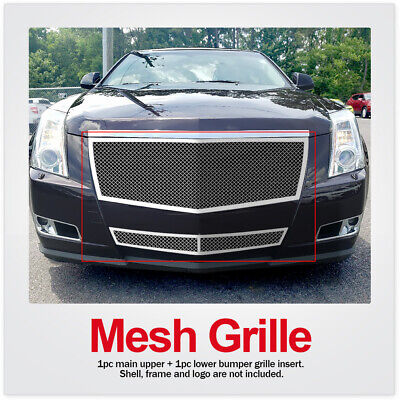FOR 08-13 2012 2013 Cadillac CTS Stainless Mesh Grille Combo