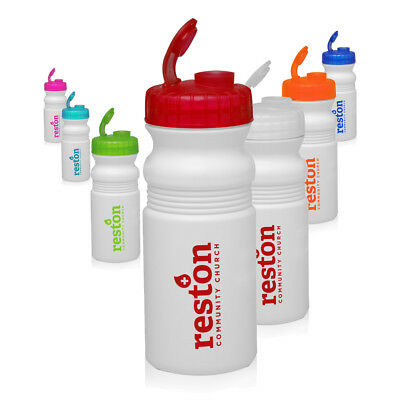 50 Custom USA Made BPA Free 20 oz Flip Top Bike Bottles Printed W/ Logo/Message