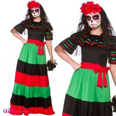Mexikaner Tag der Toten Senorita Skelett Zombie Halloween Kostüm Fancy Dress