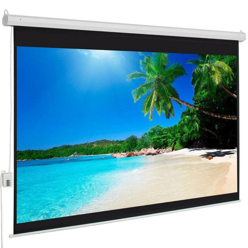 """Hot Sale 100"""" 4:3 Material Electric Motorized Projector Screen +Remote Home"""