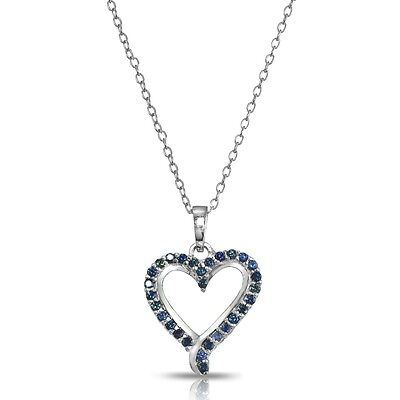 Sterling Silver Genuine Blue Sapphire Open Heart Necklace