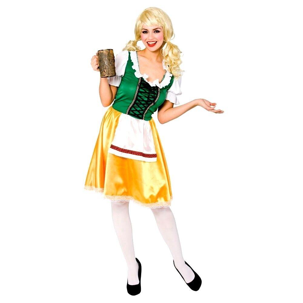 Ladies BAVARIAN BEER WENCH Oktoberfest Bavarian Fancy Dress Costume UK Size 8-24