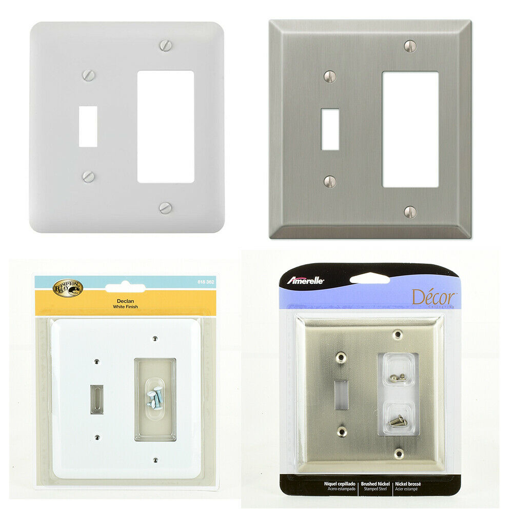 1 Toggle 1 Rocker Decora Combination Outlet Switch Wall Plate Cover Nickel Lot Ebay