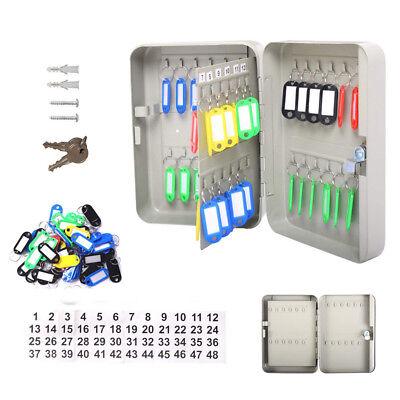 48 Key Storage Cabinet Safe Wall Mount Lock Box Hook Organizer Holder Security