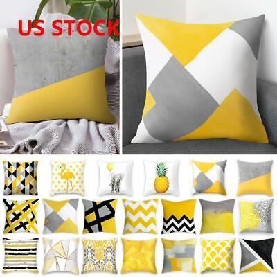 Yellow Polyester Pillow Case Sofa Car Waist Throw Cushion Co