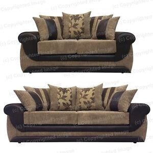Brand new kirk sofa 2 and 3 seater brown faux leather for Beige faux leather sofa slipcovers