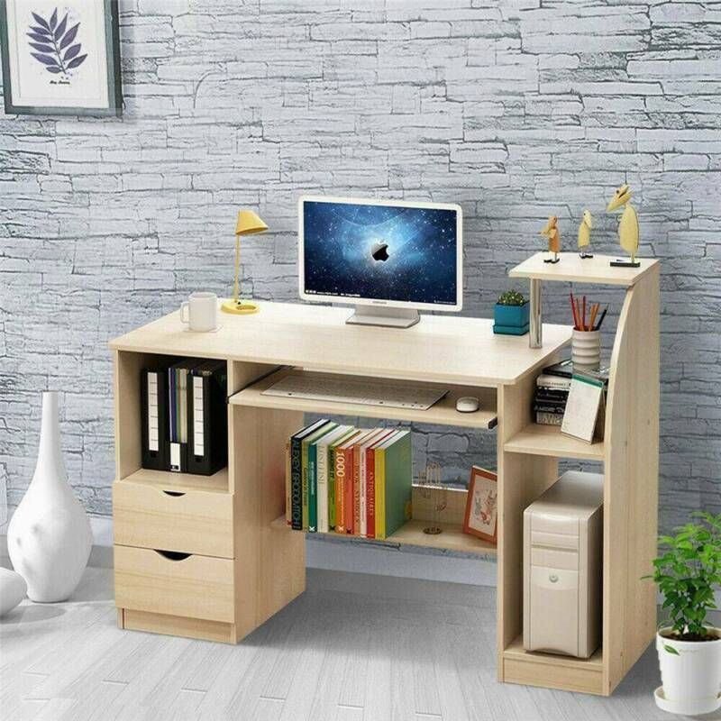 Wide Writing Desk Office Computer PC Table With Keyboard Shelf Home Study Desk