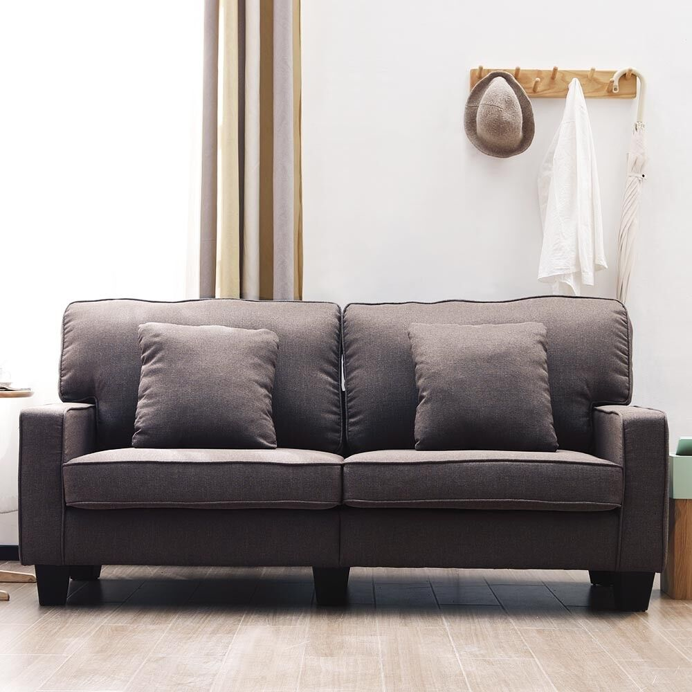 Modern 2 Seater Sofa Fabric Sofa With Armrest Living Room