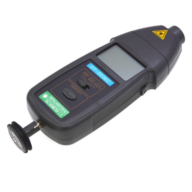 2in1 Contact & Non-contact Laser Tachometer Auto Ranging RPM Speed Measure Meter