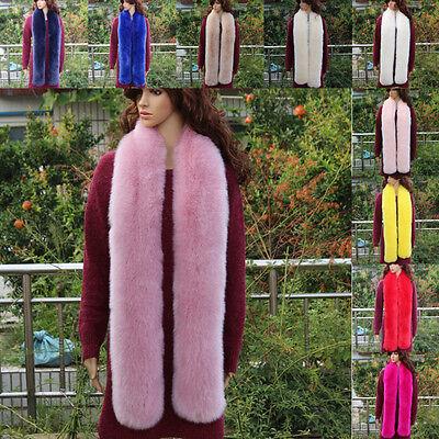 Lady Faux Fox Fur Scarf Collar Long Soft Fluffy Shawl Furry Neck Wrap Stole Warm Long Collar Scarf