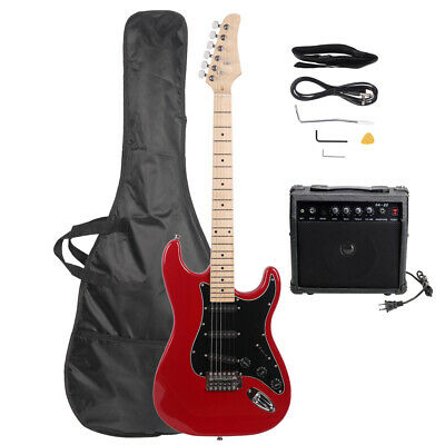 US Beginner Electric Guitar Package Amp Case Strap Picks Tuner Starter Pack Red Electric Guitar And Amp Pack