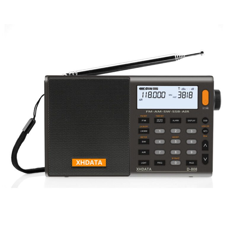 XHDATA D-808 Digital Portable Radio FM SW MW AM LW SSB AIR RDS Radio Alarm Clock