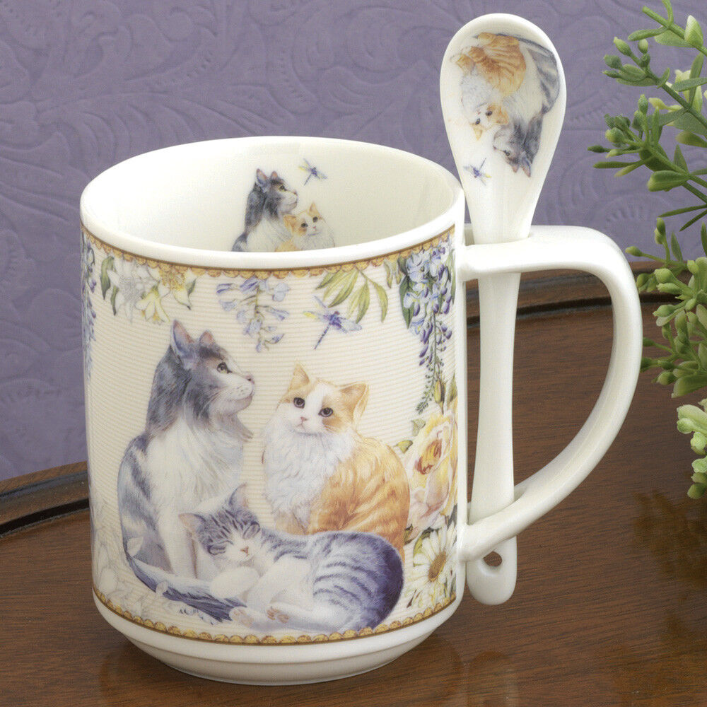 Bits and Pieces-Porcelain Cats Mug with Teaspoon-10 oz Coffe