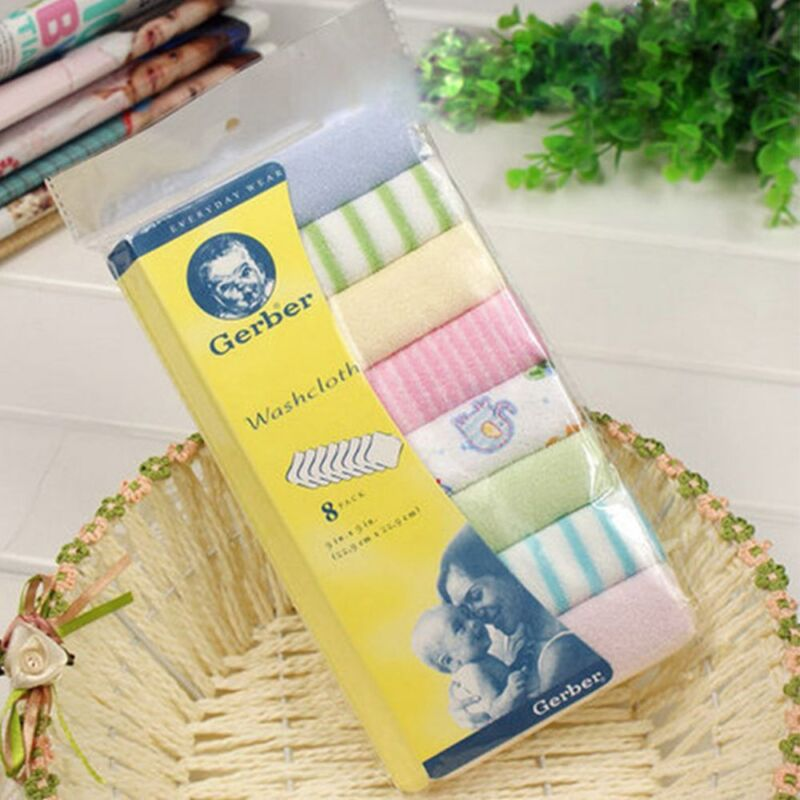 Cotton Soft 8pcs/Pack Infant Towel Cloth Feeding Wipe Washcloth Towels Baby