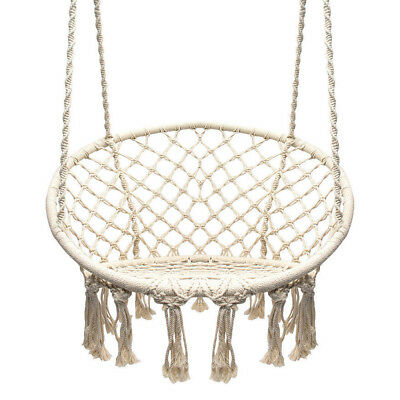 Garden Swing Macrame Outdoor Cotton Rope Hammock Indoor Home Round Hanging Chair ()