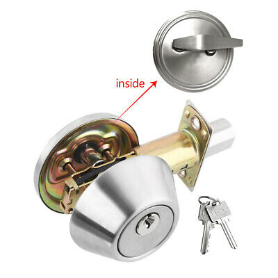 Deadbolt Single Cylinder Door Lock Set Security Keyed Entry Satin Nickel Keys