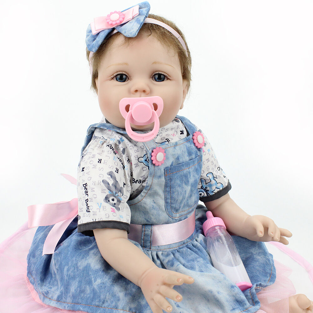 "22""Lifelike Vinyl Silicone Reborn Girl Dolls Handmade Newborn Baby Xmas Gifts"