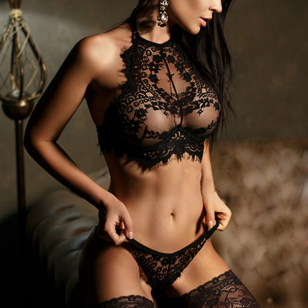 Women Sexy Lingerie Lace Flowers Push Up Top Bra Pants Underwear Set AAA