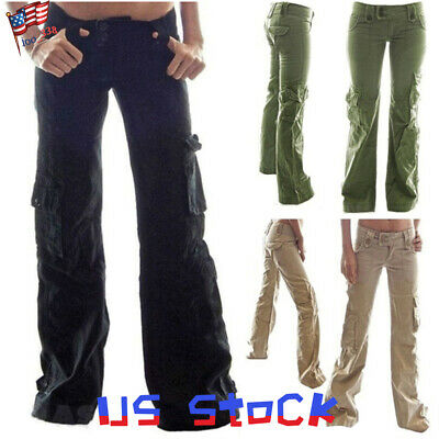 Fashion Women's Pants Wide Leg Overalls Cargo Pockets Flare Trousers Belted US Belted Flared Pants
