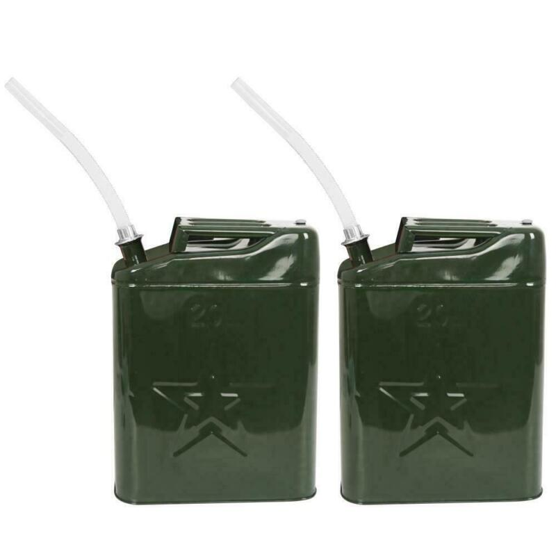 Pair Army Green Jerry Can 5 Gallon 20L Steel Outdoor Emergency Portable New
