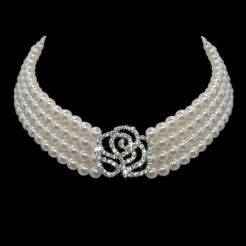 Dog Necklace Collar Jewelry Pearls Diamante Accessory for