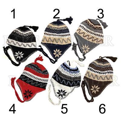 Winter Peruvian Ear Flap Ski Hat Lined Beanie Cap Snow Flakes Men's Pattern (Winter Ski Beanie Earflap)