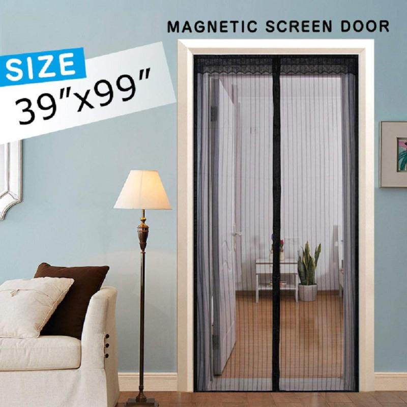 Magnetic Screen Door Mesh Curtain Full Frame Velcro Hand ...