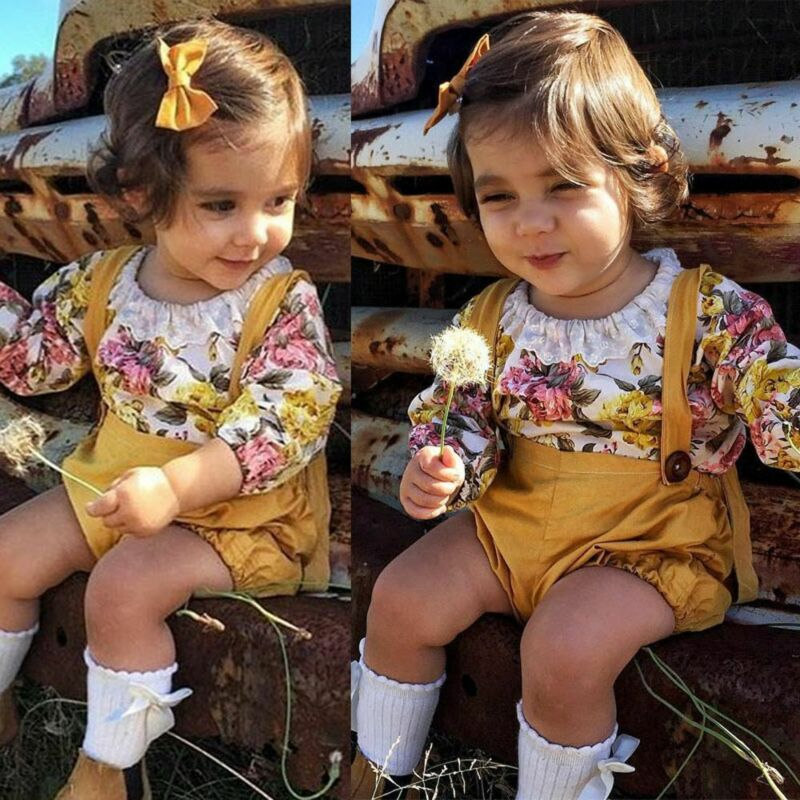 sommer hose outfits kleinkind floral - strampler - kurze body mädchen kleidung