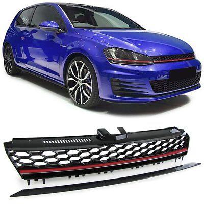 Sport Kühlergrill Grill ohne Emblem mit Waben schwarz für VW Golf 7 ab 12